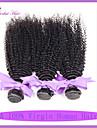 7a indisk kinky lockigt hår väver 100% jungfru mänskliga hårförlängningar 3st mycket naturligt svart färg 1b #