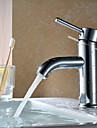 Moderne Vandret Montering Enkelt håndtag Et Hul in Krom Håndvasken vandhane