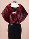 Wedding  Wraps / Fur Wraps Shawls Sleeveless Faux Fur Burgundy Wedding / Party/Evening Rhinestone Clasp