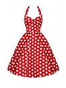 Vrouwen Vintage / Schattig Grote Maten Polka dot Jurk-Tot de knie Halter Polyester