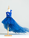 Ball Gown Asymmetrical Flower Girl Dress - Tulle / Stretch Satin / Polyester Sleeveless One Shoulder with