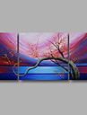 """Ready to Hang Stretched Hand-painted Oil Painting 48""""x24"""" Three Panels Canvas Wall Art Pink Blossom Flowers Blue"""