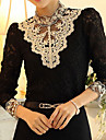 Women\'s Lace Crochet Black/Beige Blouse, Vintage Stand Collar Long Sleeve