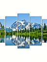 Fantaisie / Photographie / Patriotique / Moderne / Romantique / Pop Art / Voyage Toile Cinq Panneaux Pret a accrocher , Format Horizontal