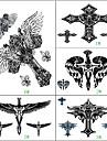 1 - Series de totem - Noir / Bleu - Motif - 21.8 X 19 CM - Tatouages Autocollants - Yimei - Homme / Femme / Adulte / Adolescent