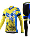 CHEJI® Maillot et Cuissard Long de Cyclisme Femme Manches longues VeloRespirable Sechage rapide Resistant aux ultraviolets Materiaux