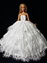Bröllop Klänningar För Barbie Doll Vit Klänningar För Flicka doll Toy