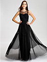 Lanting Bride® Floor-length Tulle Bridesmaid Dress A-line Bateau with Lace / Sash / Ribbon