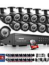 annke® 16ch 1080p dvr cctv ir exterieur systeme de camera de securite a domicile avec disque dur 2To