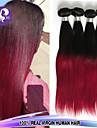 4pcs / lot brazilian cheveux vierge droites ombre vierge cheveux deux couleurs de tonalite 1b / 99J non transformes faisceaux de tissage