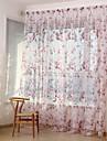Deux Panneaux Rustique Floral / Botanique Rouge / Cafe Salle de sejour Polyester Sheer Rideaux Shades