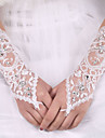 lady\'S White Lace Elastic Silk Flower Shape Tulle Fingerless Elbow Length Bridal Gloves for Wedding Party