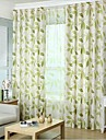 Två paneler Rustik Blommig/Botanisk Grön Bedroom Linne/Bomull blend Panelgardiner draperier