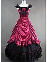 One-piece/Klänning Gotisk Lolita Victoriansk Cosplay Lolita-klänning Röd Blå Lappverk Ärmlös Lång längd Trikå För Dam Bomull Satäng