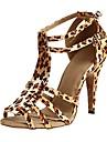 Chaussures de danse (Noir / Violet / Leopard) - Personnalisables - Talon Personnalise - Satin - Latine / Salsa / Samba