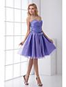 Lanting Bride® Knee-length Taffeta Bridesmaid Dress A-line Sweetheart with Bow(s) / Crystal Detailing