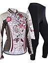 Nuckily Maillot et Cuissard Long de Cyclisme Femme Manches longues Velo Maillot Ensemble de VetementsPare-vent Design Anatomique