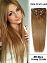 """20 """"7st # 16 mörk honung blond rakt klipp i Remy hårförlängningar"""
