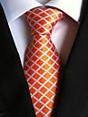 Portocaliu plaid bărbați cravată cravată nunta cadou parte