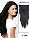 15inch 7st rakt 100% remy hår klipp i mänskliga hårförlängningar # 1-Jet Black
