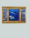 3d väggdekorationer Väggdekaler, hajar dekor vinyl väggdekorationer