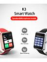 k3 bluetooth 4.0 2.5D gorilla glas pulsmätare Smartwatch - metall med läder