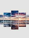 Landskap / Modern Canvastryck Fem paneler Redo att hänga , Horisontell