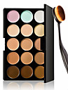 15 Farben Kontur Gesichtscreme Make-up Concealer Palette + oval Make-up Pinsel Fundament Creme Werkzeug