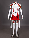 Inspire par Sword Art Online Asuna Yuuki Manga Costumes de Cosplay Costumes Cosplay Mosaique Blanc Rouge Sans ManchesHaut Jupe Manche