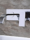 HPB® Wall Mounted Single Handle Two Holes in Chrome Bathroom Sink Faucet
