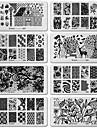 6pcs l\'image diy ongle art dentelle noire outil de conception de fleur equipements tampon estampage plaques modele manucure