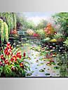 Mini e-home oljemålning modern trädgård damm natur ren hand dra ramlösa dekorativt måleri