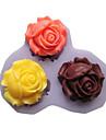 tre hål rosor blomma silikonform fondant formar sockerhantverksredskap harts blommor formformar för kakor