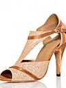 Chaussures de danse(Or) -Personnalisables-Talon Personnalise-Satin Paillette Brillante-Latine Salsa