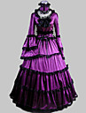 One-piece/Klänning Klassisk/Traditionell Lolita Vintage-inspirerad Cosplay Lolita-klänning Purpur Vintage Lång ärm Lång längdKlänning