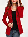 Women\'s Plus Size Zipper Black Red Jacket, Work/Casual Lapel Long Sleeve