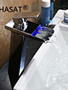 Contemporain Montage LED / Cascade with  Valve en ceramique Mitigeur un trou for  Chrome , Robinet lavabo