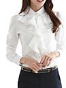 Mulheres Blusa Primavera / Outono / Inverno,Solido Branco / Preto Poliester Colarinho de Camisa Manga Longa Media