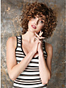 女性送料無料のための茶色の耐熱性繊維バレルカール品質短い合成かつら