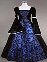 One-piece/Klänning Gotisk Lolita Steampunk® Victoriansk Cosplay Lolita-klänning Blå Enfärgat Lång ärm Lång längd Klänning För DamSatäng