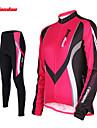 TASDAN® Maillot et Cuissard Long de Cyclisme Femme Manches longues VeloRespirable / Sechage rapide / La peau 3 densites / Bandes