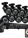 Zosi @ hdmi 8ch 960h nätverk DVR 1TB hdd 8pcs 800tvl ir utomhus CCTV övervakningskameror systemet