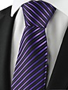 Cravată(Negru / Violet,Poliester)Dungi