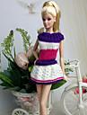 Informel Robes Pour Poupee Barbie Violet / Blanc Robes Pour Fille de Doll Toy