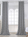 Deux Panneaux Moderne Rayure Noir Salle de sejour Coton Panneau Rideaux rideaux