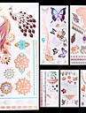 6 Tatouages Autocollants Series bijoux Series animales Series de fleur Series de totem Autres Non Toxique Motif Halloween Paillettes