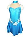 Robe de Patinage Femme Sans manche Patinage Jupes & Robes Robe de patinage artistique Elasthanne Bleu Tenue de PatinageVetements de Plein