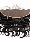 """8""""-20"""" Hel-spets Kroppsvågor Mänskligt hår Stängning Medium Brun / Mörkbrun Schweizisk spets gram Cap Storlek"""