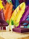 effet moderne en cuir 3d shinny grand papier mural art colore de plume decoration murale pour television canape mur de fond