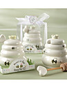 Meant to Bee Ceramic Honey Pot with Wooden Dipper Baby Birthday Party Favors